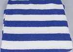 Bare Ass Towel Blue and White Striped Millennium Cotton Towel